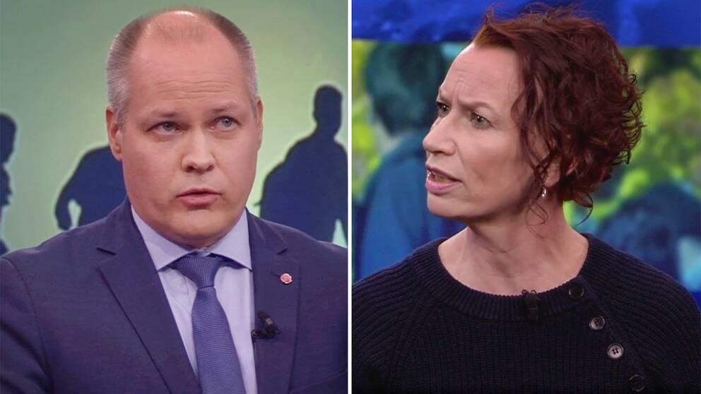 Migrations- och justitieminister Morgan Johansson (S) debatterade mot Vänsterpartiets Christina Höj Larsen i SVT:s Aktuellt under torsdagskvällen.