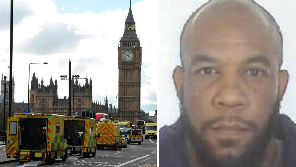 Gärningsmannen Khalid Masood och ambulanser på Westminster Bridge efter attacken.