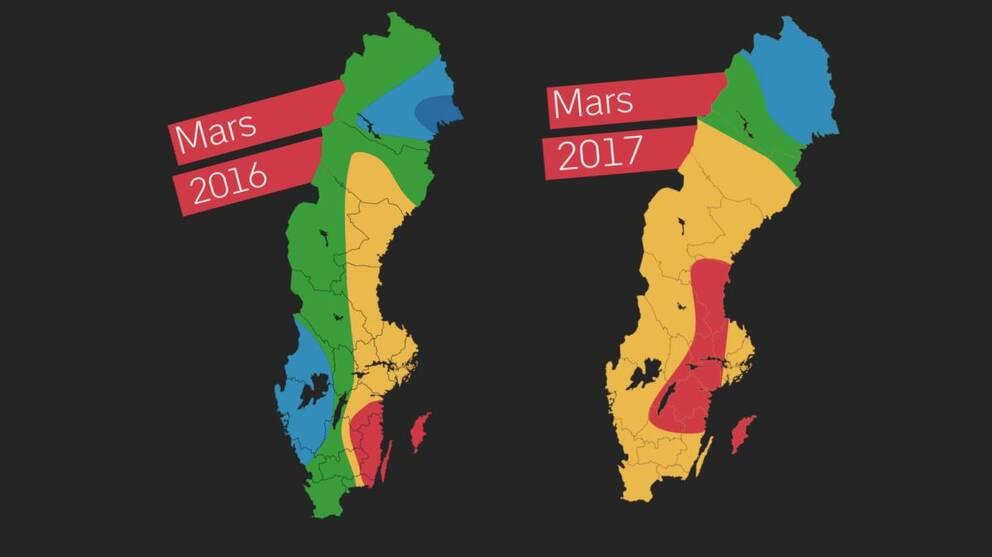 Två Sverigekartor som är blåa, gröna, orange och röda.
