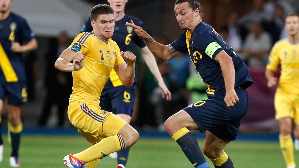 Sverige mot Ukraina i EM-premiären 2012 i Kiev. Foto: Scanpix