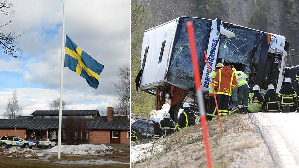 Den olyckdrabbade bussen och en flagga på halv stång.