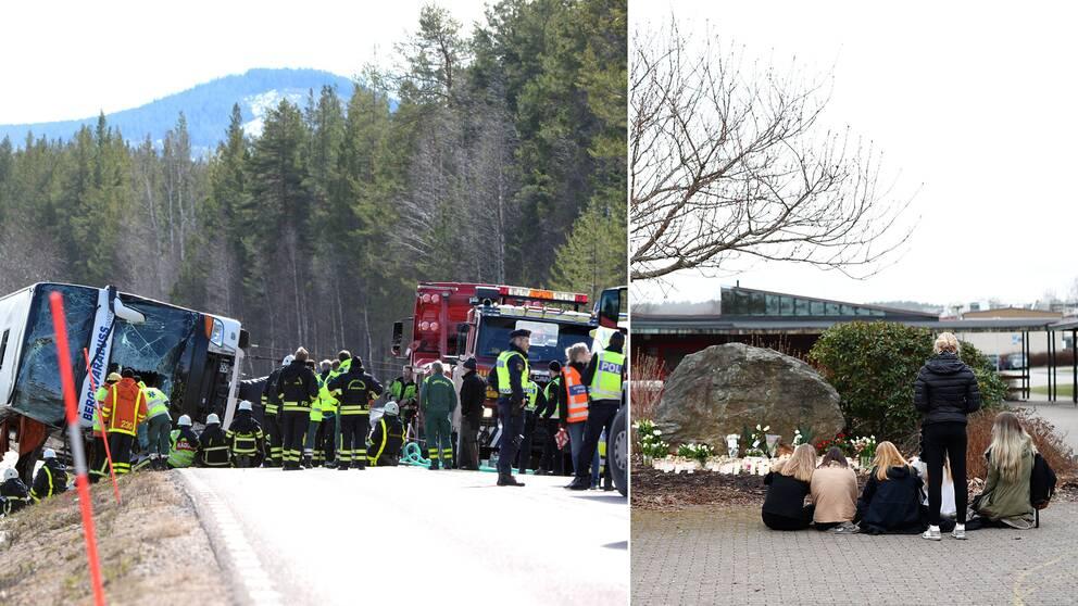 bussolyckan i Härjedalen och sörjande elever