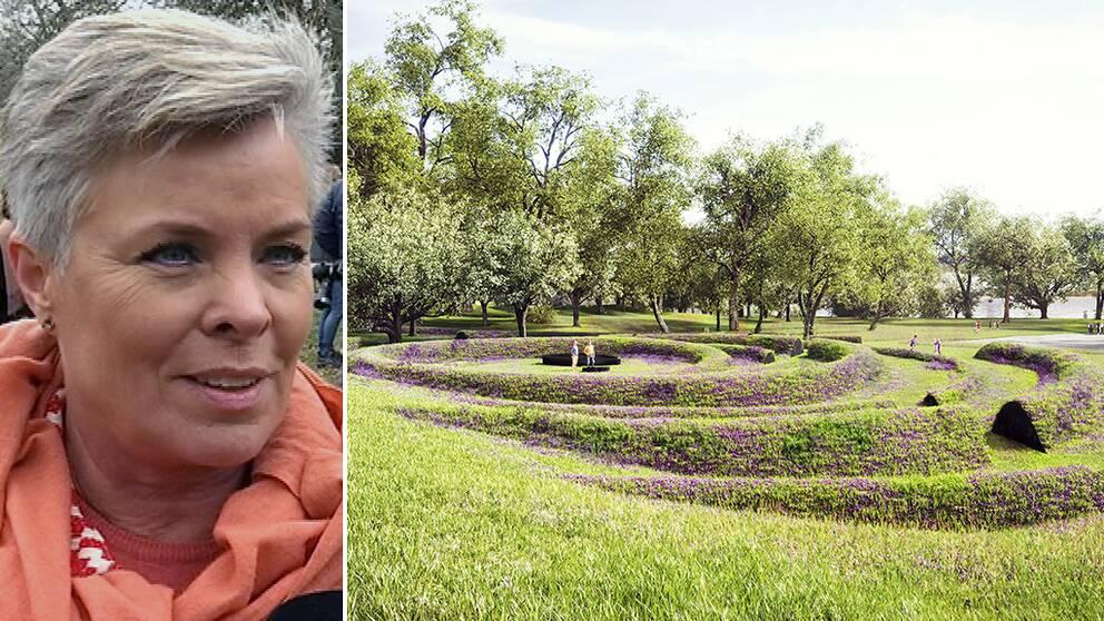 Delad bild. Bild 1: Maria Stigsson, anhörig. Bild 2: Illustration av monumentet, vågformade vallar i marken.