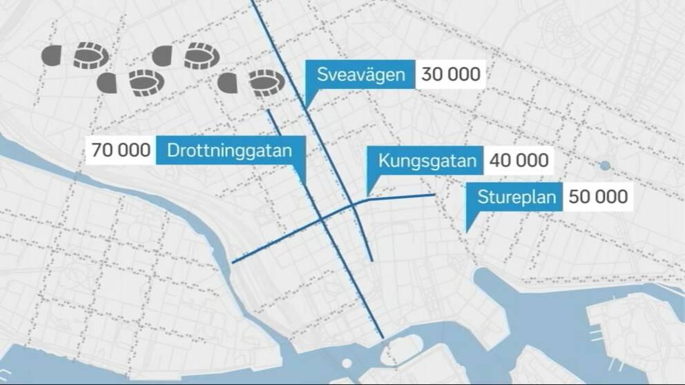 Karta Stockholm Drottninggatan.Har Kan Du Se Hur Manga Som Gar Pa Stockholms Olika Gator Svt Nyheter