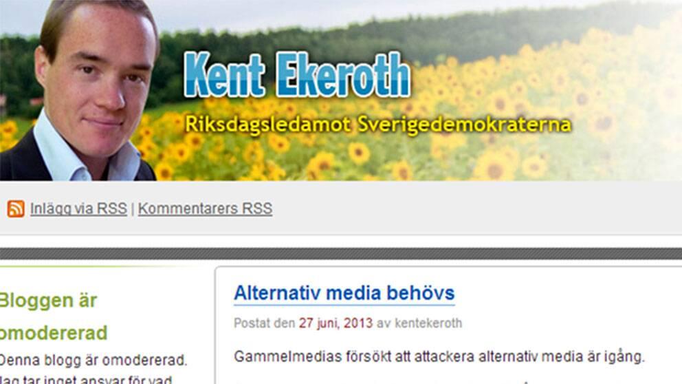 Skärmdump från Kent Ekeroths blogg