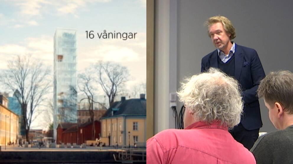 Skiss över det nya höghuset i kvarteret Almen och Mikael Solberg på samrådsmöte