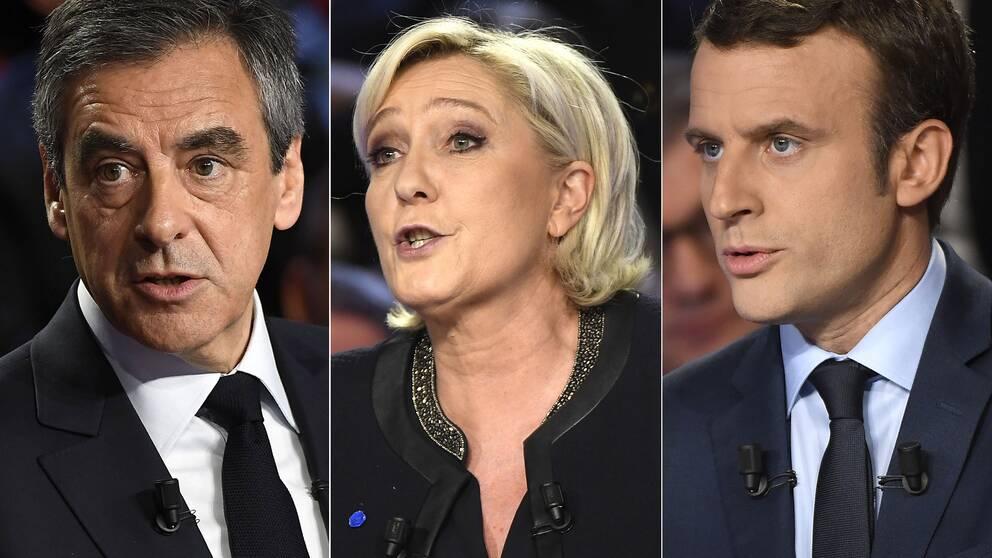Tre av de franska presidentkandidaterna