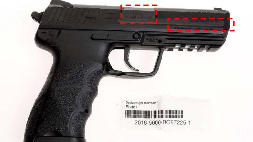 Bild på en pistol från polisens förundersökningsprotokoll