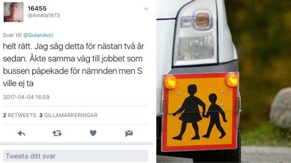 Delad bild, till vänster en avbild av en tweet, till höger en bild på en skolskjutsskylt.
