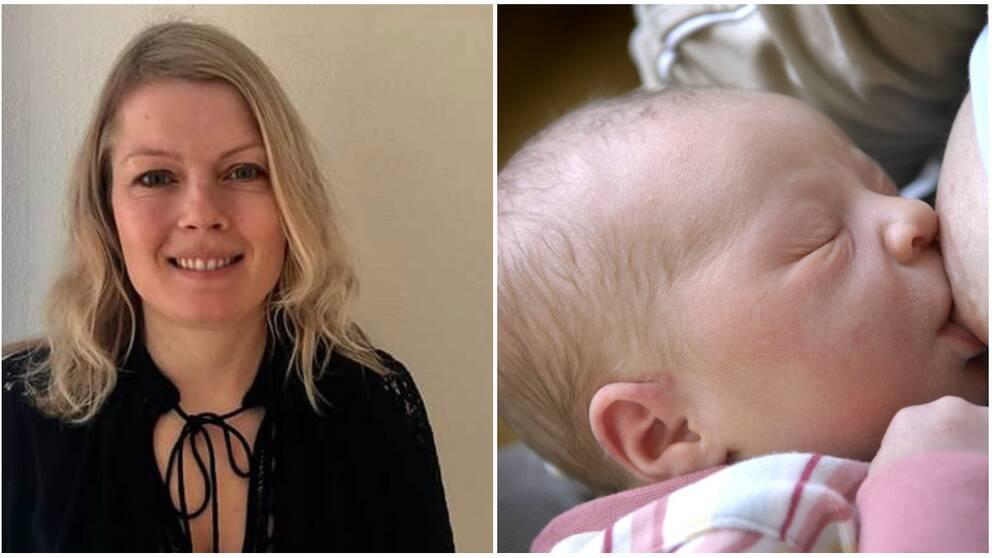 Kvinna och ammande bebis