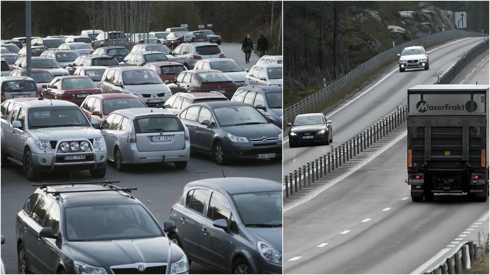 bilar parkering väg lastbil
