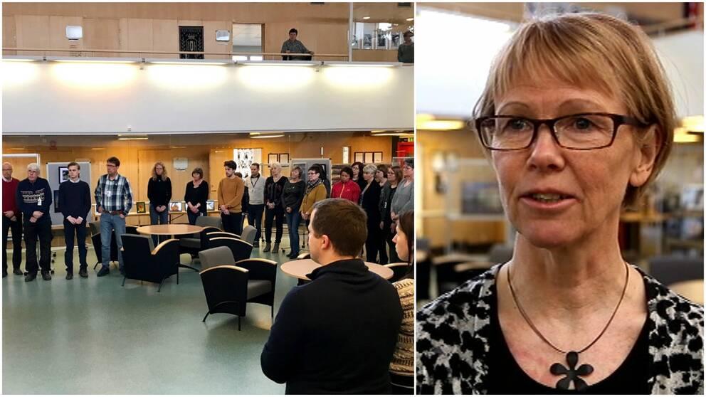Människor som deltar under den tysta minuten samt Gunnel Gyllander, kommunchef i Sveg.