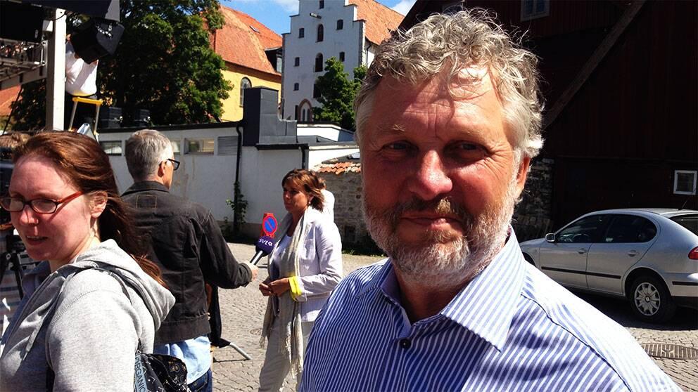 Miljöpartiets Peter Eriksson kandiderar till EU-parlamentet. Här på plats i Almedalen.