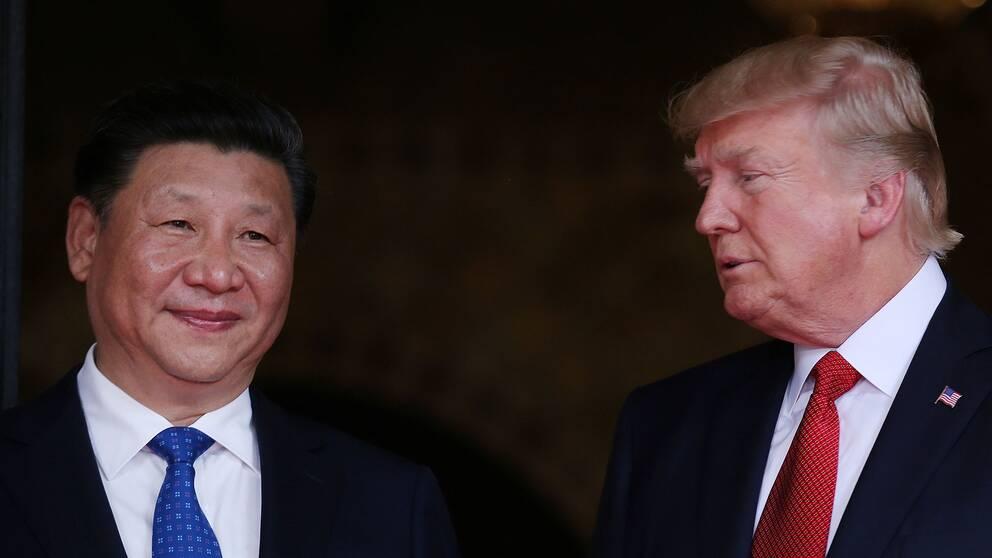USA:s president Donald Trump tog emot Kinas president Xi Jinping i Mar-a-Lago, i Palm Beach i Florida, under torsdagen.