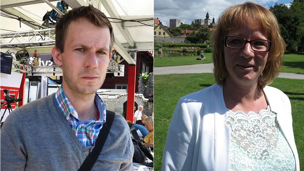 Alexander Bengtsson på Expo och SD-kvinnors ordförande Carina Herrstedt har olika åsikter om SD:s syn på jämställdhet och kvinnliga väljare.