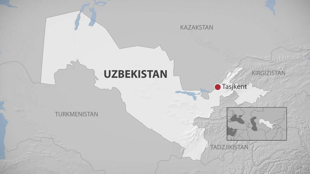 Karta på Uzbekistan.