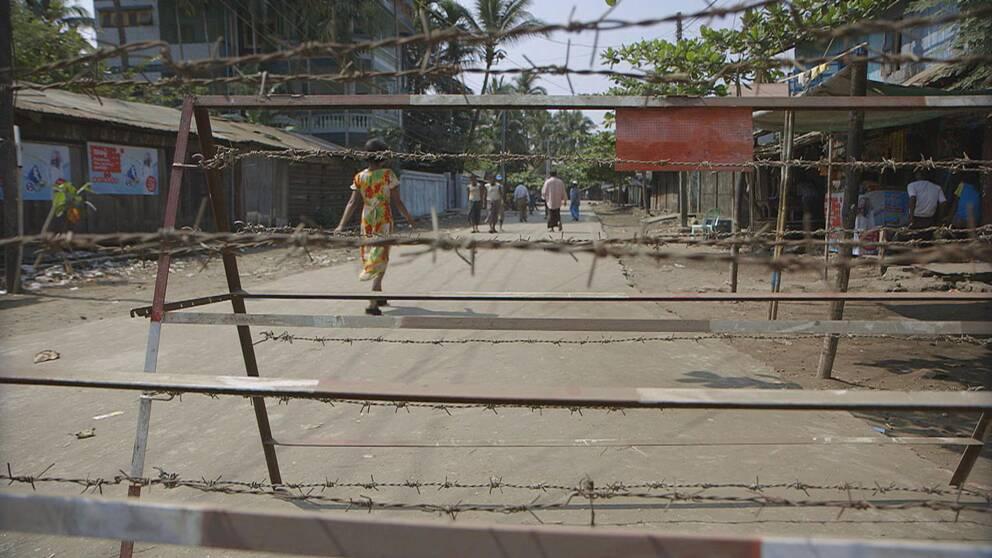 Ett av ett av rohingya-lägren utanför staden Sittwe i Myanmar.