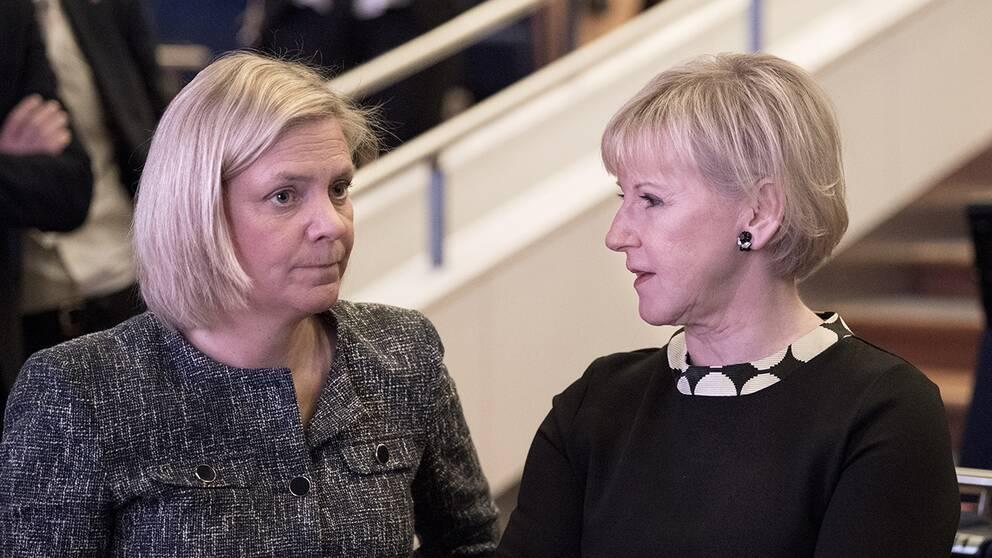 Finansminister Magdalena Andersson och utrikesminister Margot Wallström vid Socialdemokraternas partikongress.