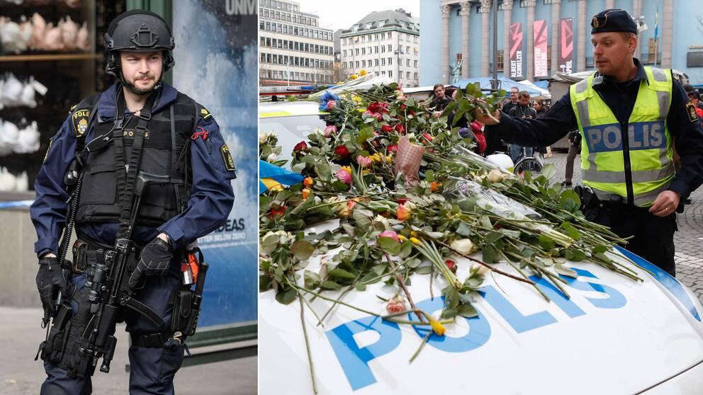 Tvådelad bild: Polis med vapen och en polis som tagit emot enormt mycket blommor. Blommorna ligger på polisbilen.