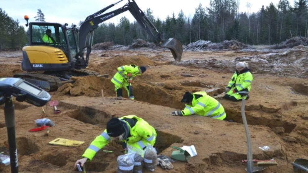 arkeologisk utrgrävning, utgrävning, arkeologer, grävskopa