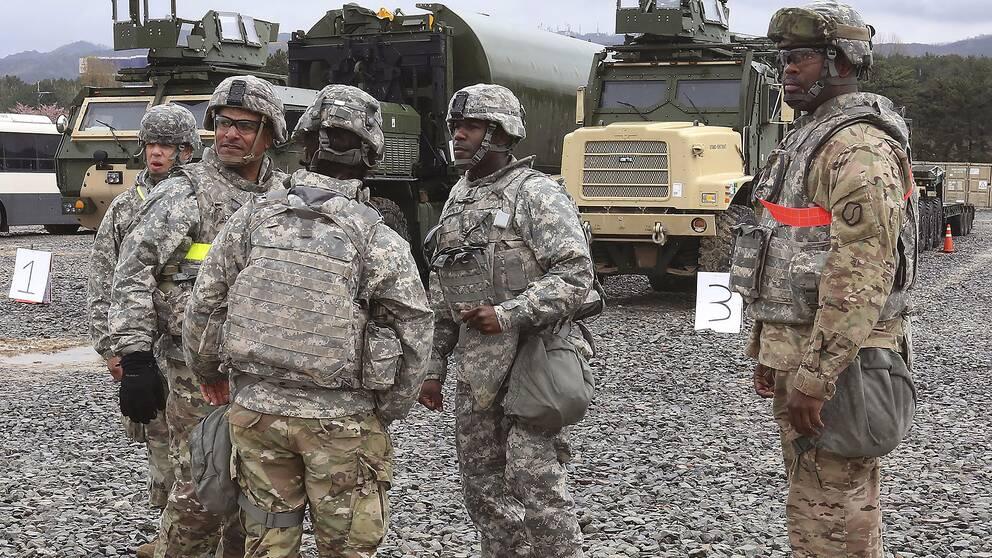 Amerikanska soldater under en gemensam militärövning i Pohang, Sydkorea, 11 april.