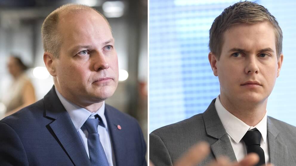 Justitieminister- och migrationsminister Morgan Johansson (S) och utbildningsminister Gustav Fridolin (MP)