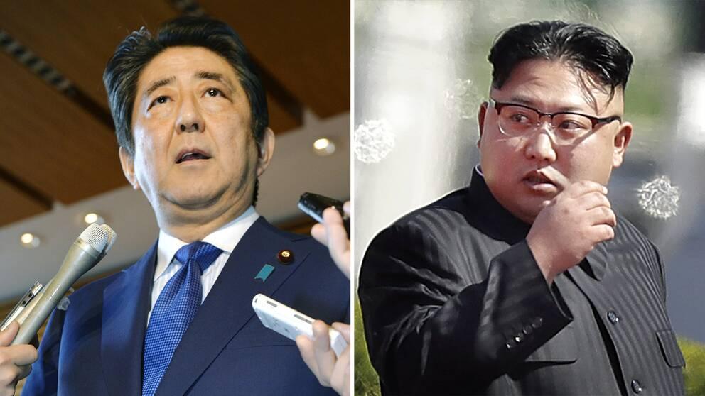 Läget alltmer spänt mellan Japans premiärminister Shinzo Abe och Nordkoreas diktator Kim Jong Un