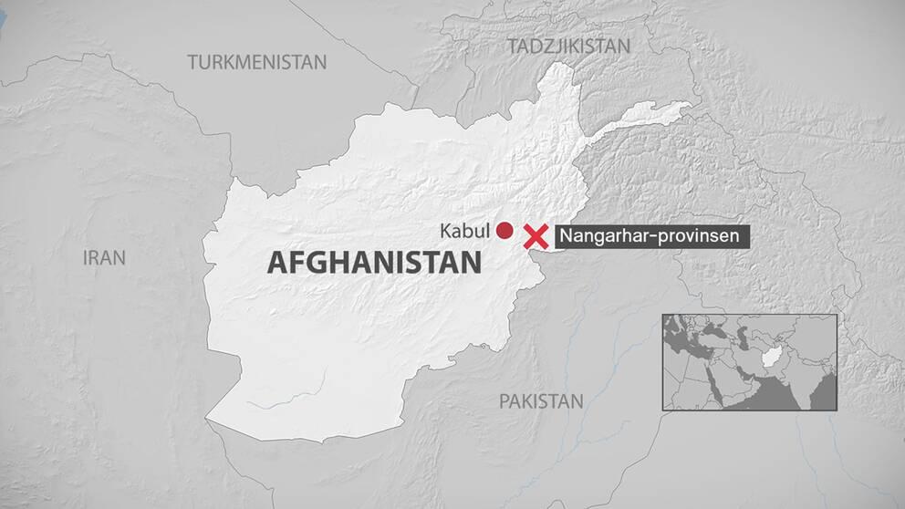 En karta med platsen utmärkt där bomben släpptes.
