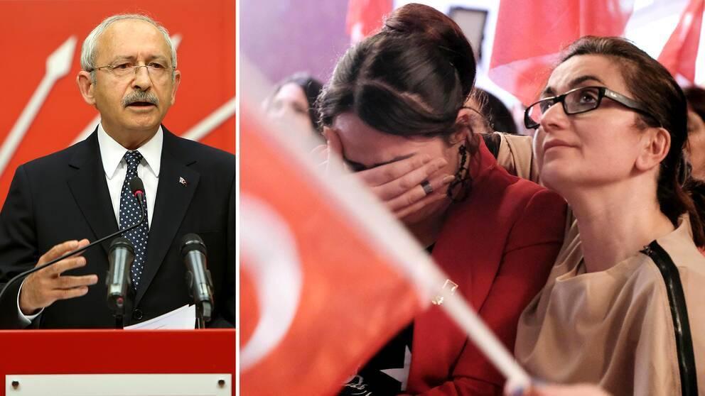 En besviken CHP-ledare i Kemal Kiliçdaroglu höll pressträff på söndagskvällen