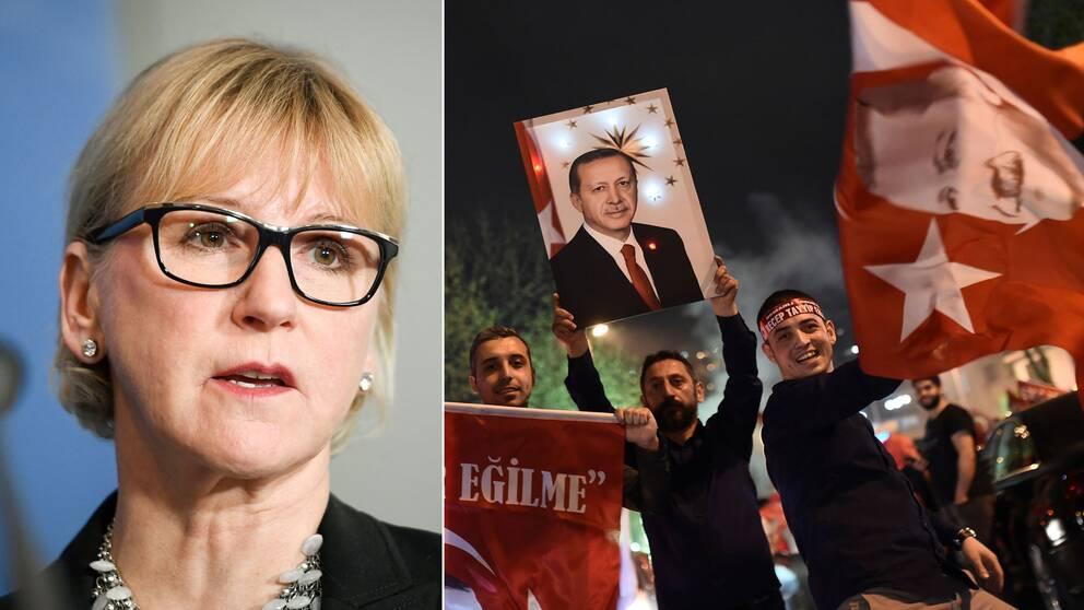 Sveriges utrikesminister Margot Wallström anser att det kan ses som ett bakslag att det inte fanns en majoritet för ja-sidan i de stora turkiska städerna.
