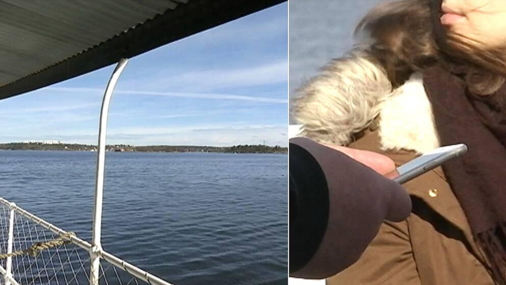 Bild över havet från en skärgårdsbåt. Bild till vänster – en hand håller i en mobil samtidigt som en kvinna ser ut över vattnet,