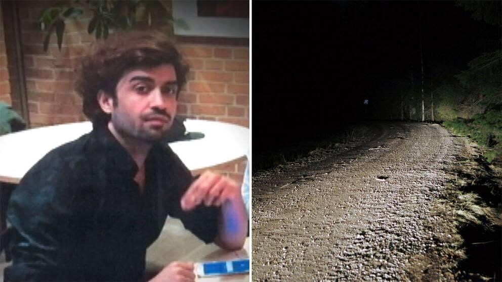 Bild på Ramin och vägen där han hittades.