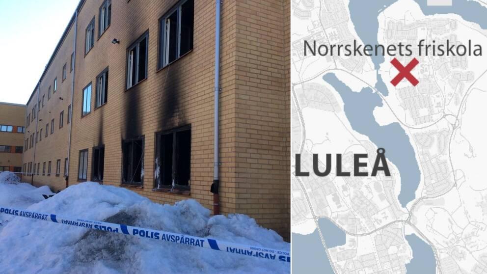 Skola brann ned i kiruna