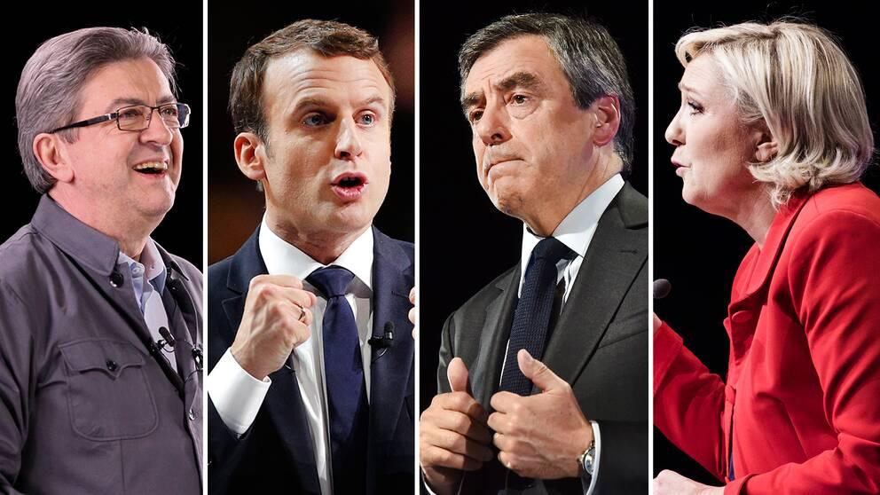 Franska valets huvudpersoner: Jean-Luc Mélenchon, Emmanuel Macron, François Fillon och Marine Le Pen.