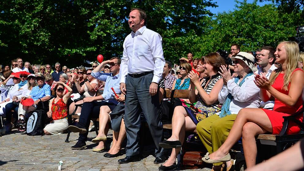 En glad Stefan Löfven kan konstatera att hans parti fick mycket uppmärksamhet i Almedalen