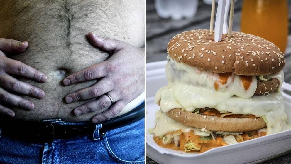 Mage och hamburgare.