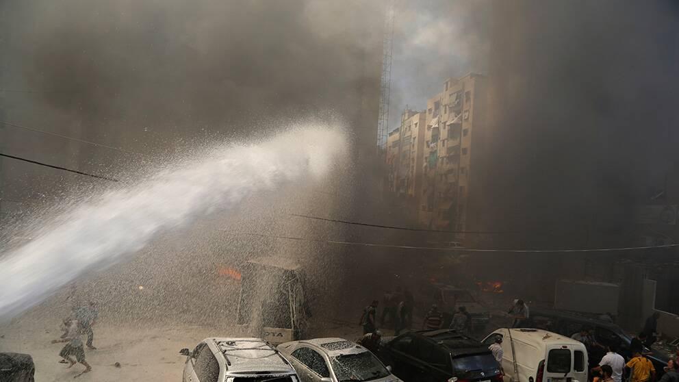 Rök efter attentatet i Beirut