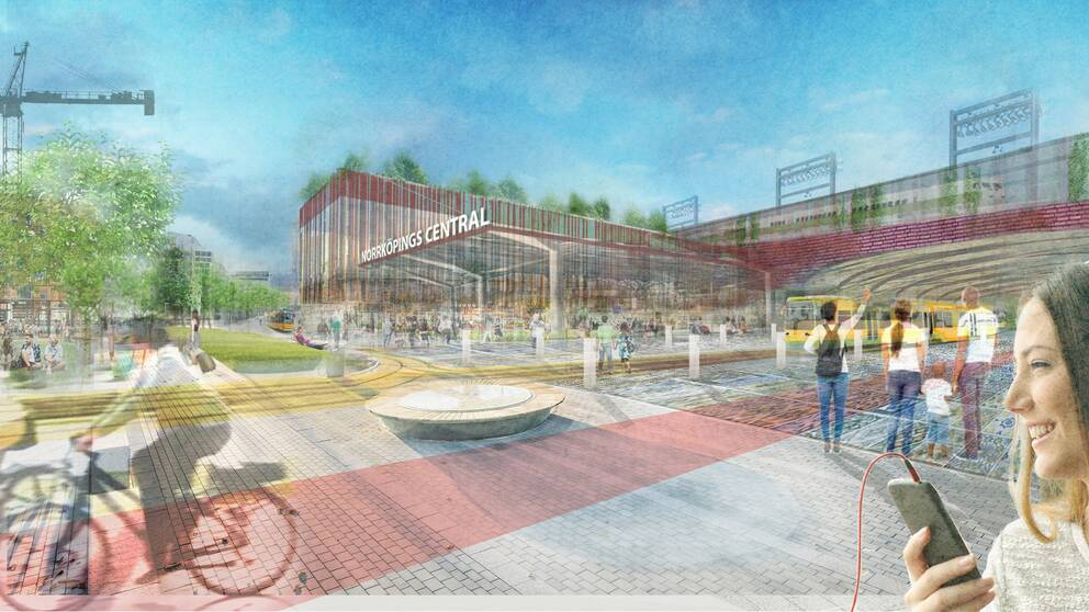 Illustration av hur nya Norrköpings central kan tänkas se ut.