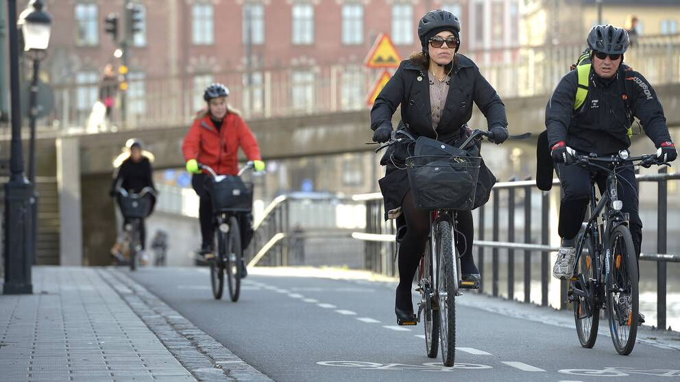 Cyklister i centrala Stockholm.