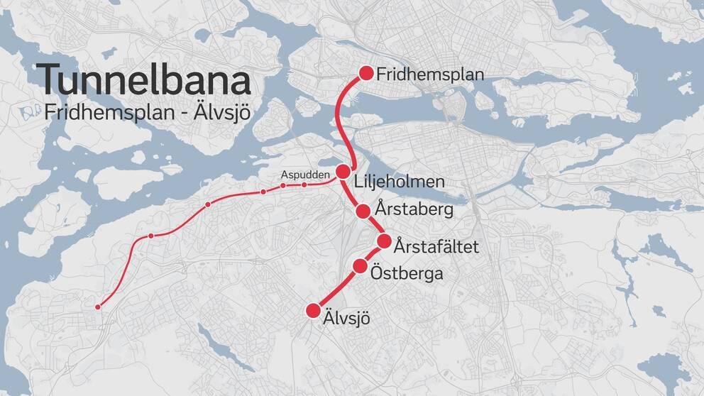 Karta över nya tunnelbanesträckningen Fridhemsplan-Älvsjö