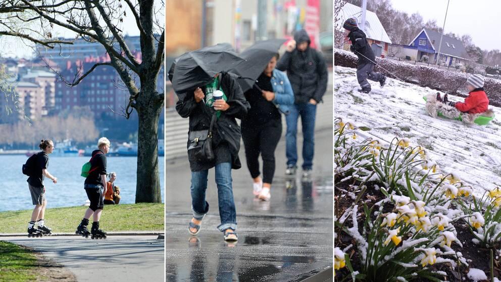 Tredelad bild: Ungdomar åker rullskridskor, personer går i blåsväder med paraply, barn som åker pulka