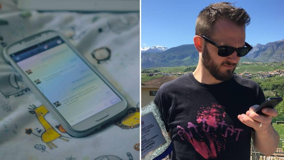 Viktor Hertz med sitt filmpris, och såklart: sin mobiltelefon.