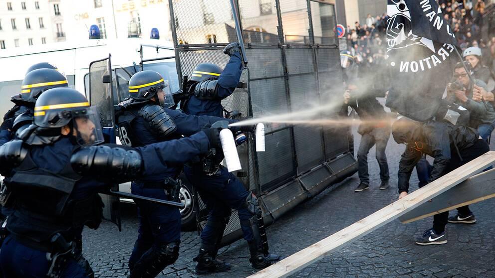polis skjuter tårgas mot demonstranter