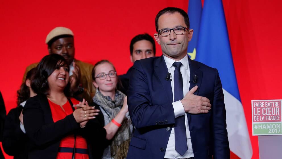 Benoît Hamon, presidentkandidat för Socialistpartiet, besviken efter att ha slagits ut i första omgången av franska presidentvalet.