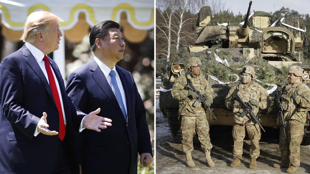 USA:s president och Kinas president Xi Jinping – ledare för de länder i världen som lägger mest pengar på vapen