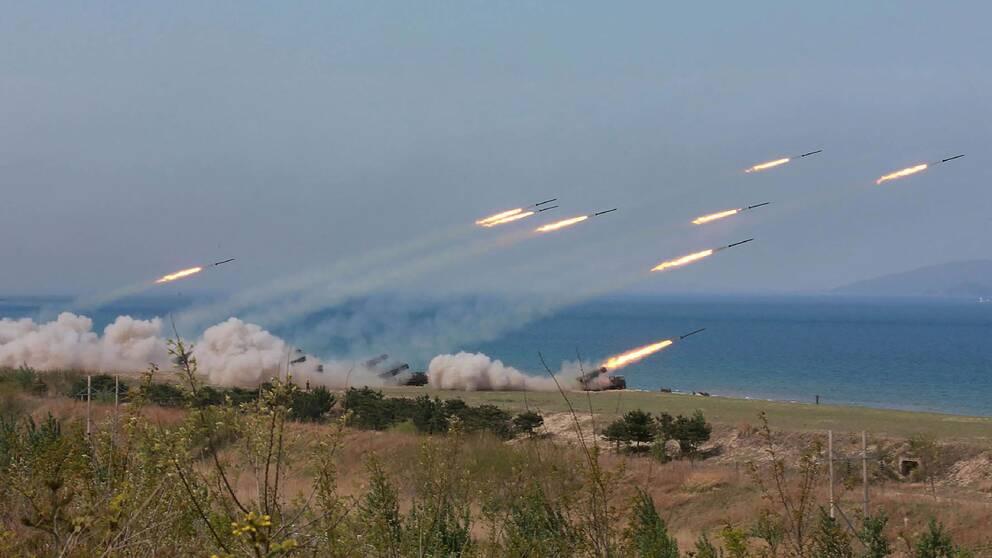 Nordkoreansk luftvärn testskjuter