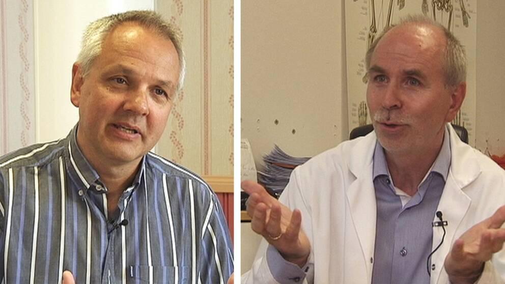 """Preben Aavitsland, smittskyddsexpert (tv), menar att """"kronisk borrelia"""" inte existerar, medan Rolf Luneng, läkare (th) behandlar många patienter för sjukdomen."""