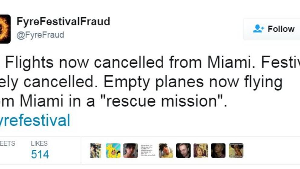 """Alla flyg från Miami är inställda. Festivalen troligen inställd. Tomma plan flyger nu från Miami på en """"räddningsuppdrag""""."""