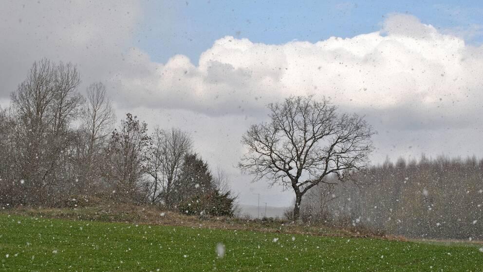 Klassiskt aprilväder med passerande snöby i Norrköping i Östergötland den 18 april.