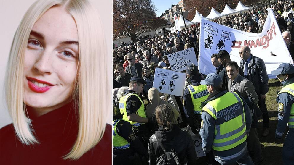 Till vänster: Anna Lie, jur.stud och styrelseledamot i FEMJUR Lund. Till höger: MALMÖ 2017-05-01 Protester när statsminister Stefan Löfven förstamajtalar i Folkets park i Malmö. Foto: Johan Nilsson / TT / Kod 50090